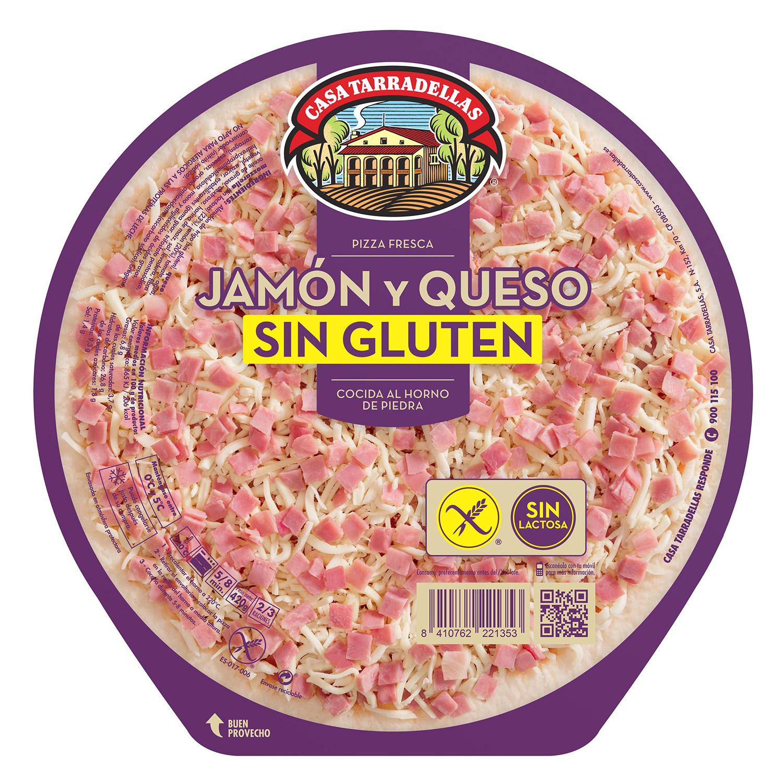 Pizza jamón y queso sin gluten y sin lactosa