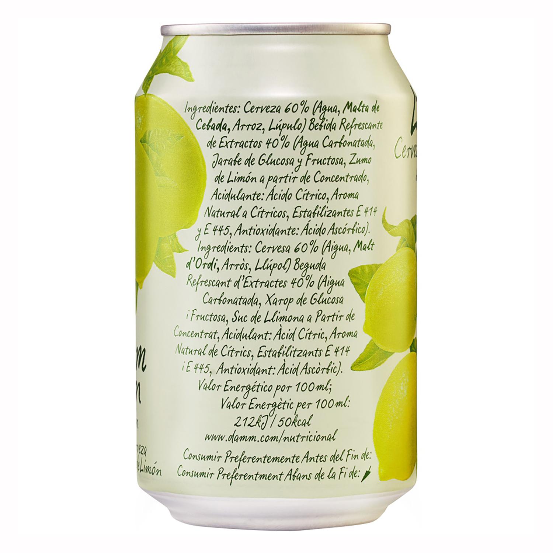 Cerveza Damm Lemon con limón lata 33 cl. -