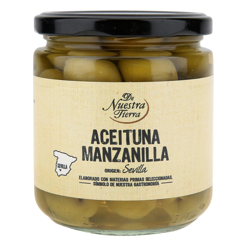 Aceitunas verdes manzanilla con hueso De Nuestra Tierra 190 g.