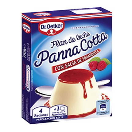 Preparado para flan de leche con salsa frambuesa Dr. Oetker 110 g.