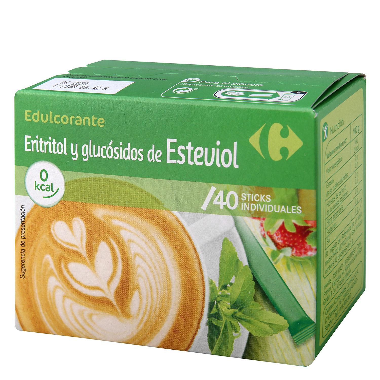 Edulcorante eritritol y glucósidos de esteviol