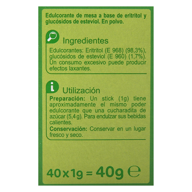 Edulcorante eritritol y glucósidos de esteviol - 3