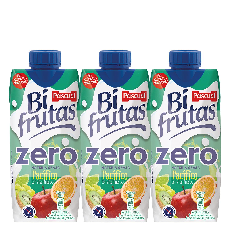 Zumo Bifrutas Pacífico zero pack de 3 briks de 33 cl.