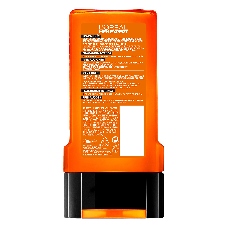 Gel de ducha taurina Hydra Energetic L'Oréal Men Expert 300 ml. -