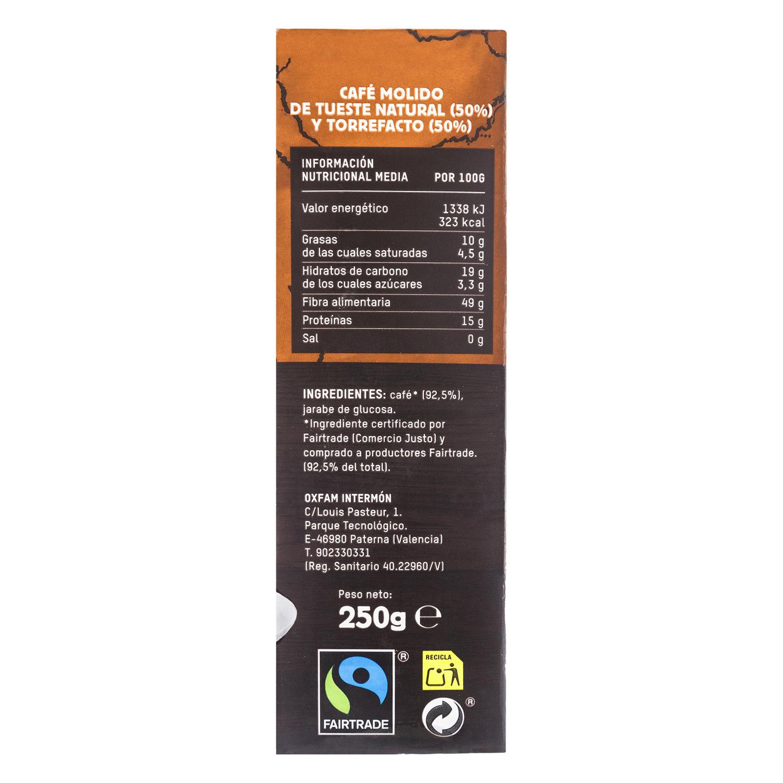Café molido mezcla ecológico Oxfam Intermón 250 g. -