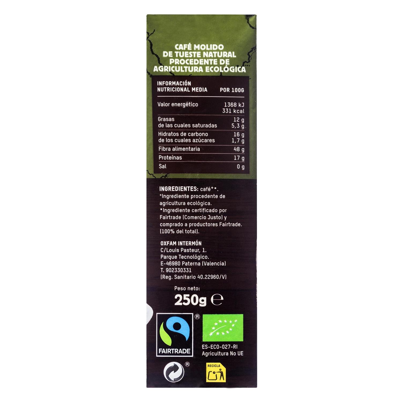 Café molido natural ecológico Oxfam Intermón 250 g. -