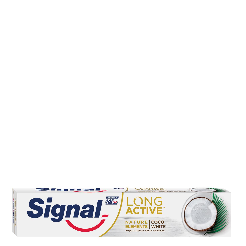 Dentífrico blanqueante coco long active Signal 75 ml.