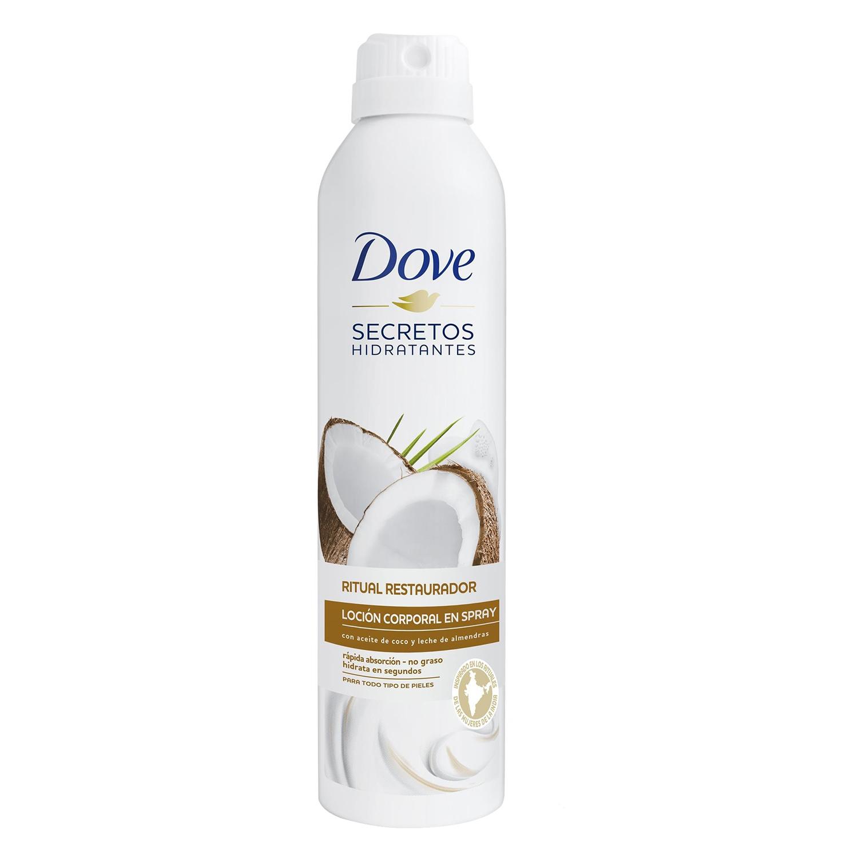 Loción corporal en spray con aceite de coco y leche de almendras Dove 190 ml.