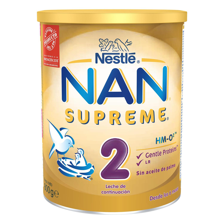 Leche infantil de continuación desde los 6 meses en polvo Nestlé Nan Supreme 2 sin aceite de palma lata 800 g.