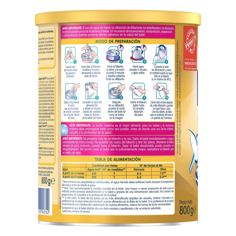 Leche infantil de continuación desde los 6 meses en polvo Nestlé Nan Supreme 2 sin aceite de palma lata 800 g. -