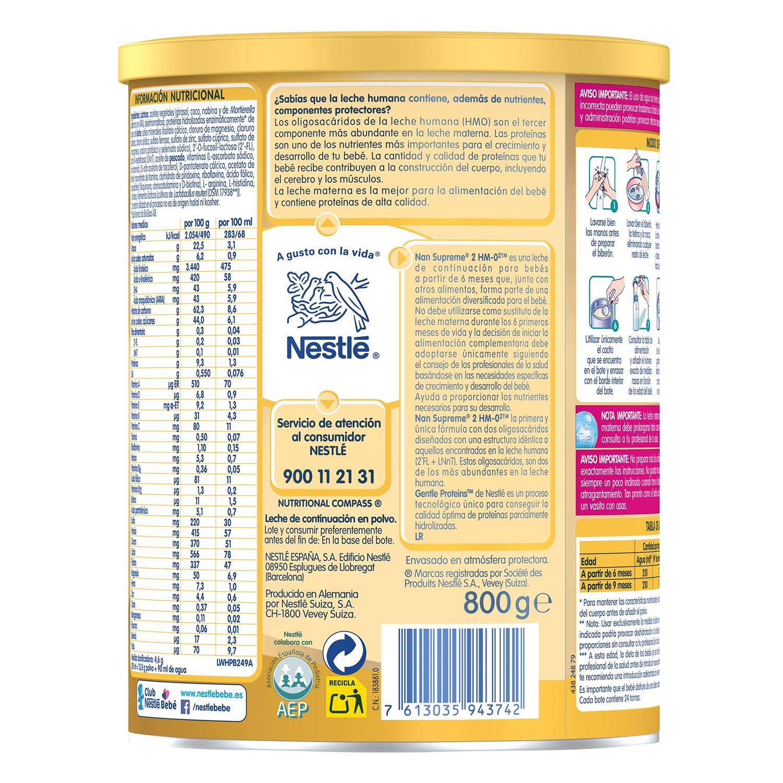 Leche infantil de continuación desde los 6 meses en polvo Nestlé Nan Supreme 2 sin aceite de palma lata 800 g. - 2