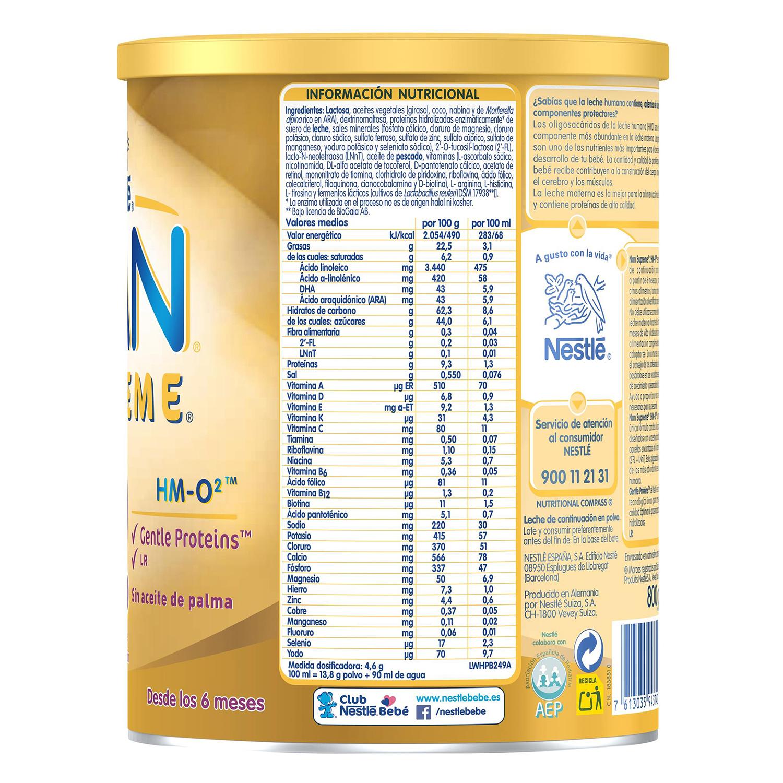 Leche infantil de continuación desde los 6 meses en polvo Nestlé Nan Supreme 2 sin aceite de palma lata 800 g. - 3