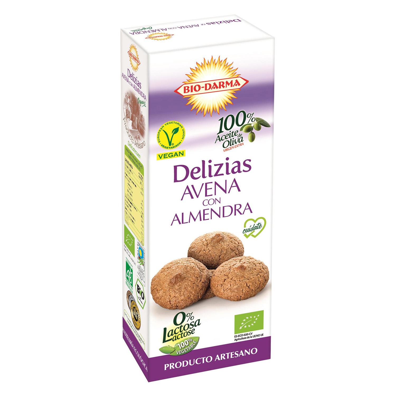 Galletas con avena y almendra ecológicas Bio Darma sin lactosa 110 g.