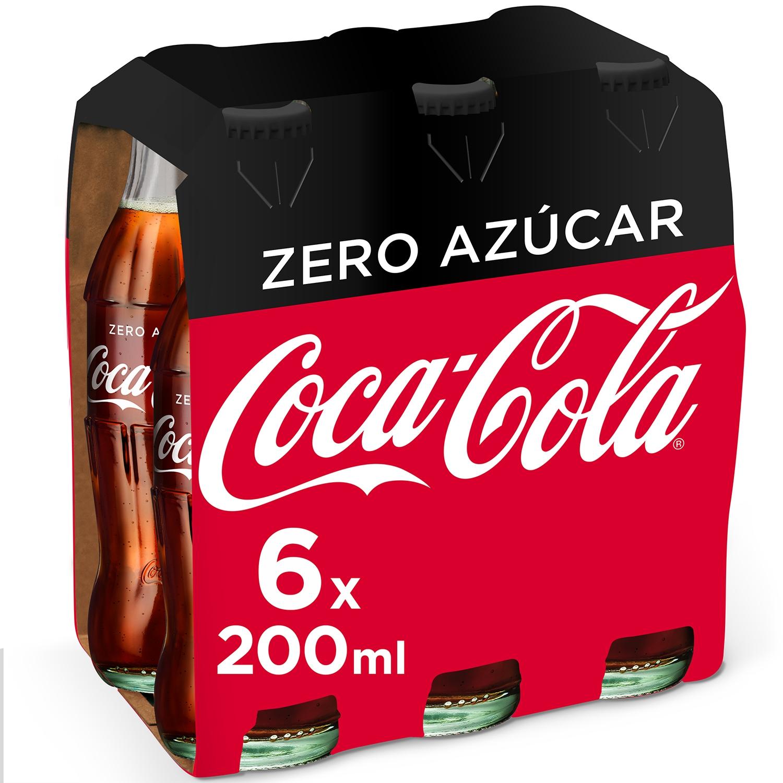 Refresco de cola Coca Cola zero pack de 6 botellas de 20 cl.