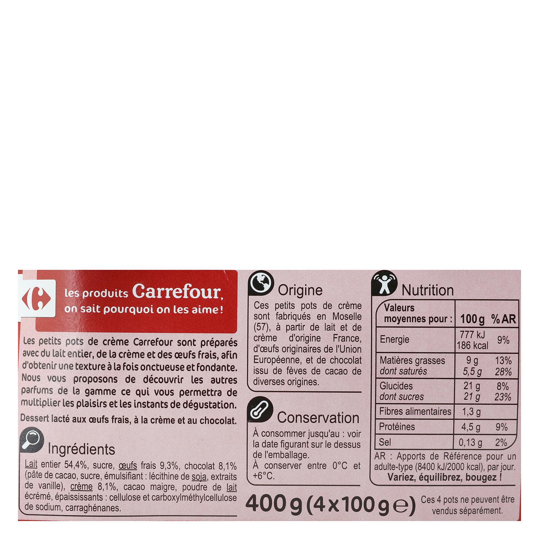 Crema de chocolate Carrefour pack de 4 unidades de 100 g. -