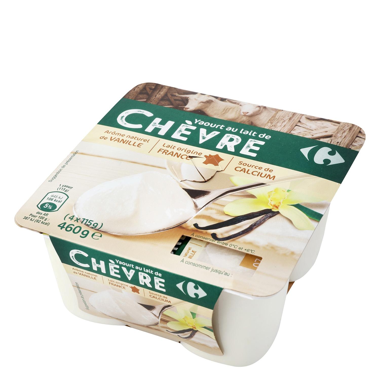 Yogur de vainilla de leche de cabra Carrefour pack de 4 unidades de 115g.