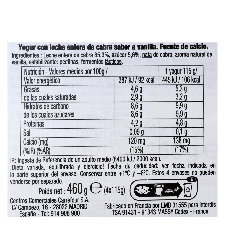 Yogur de vainilla de leche de cabra Carrefour pack de 4 unidades de 115g. -