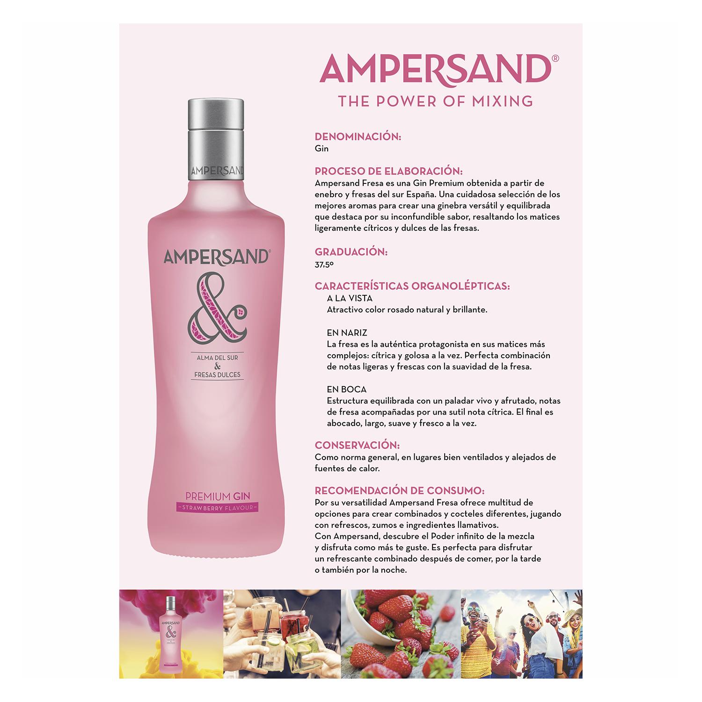 Ginebra Ampersand premium strawberry 70 cl. - 2