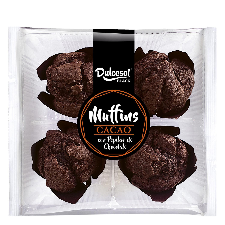 Muffins de cacao con pepitas de chocolate DulceSol 4 ud.