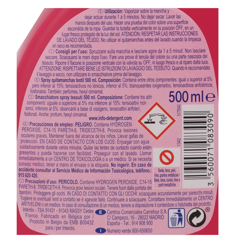 Quitamanchas textil spray Oxi Power Carrefour 500 ml. -