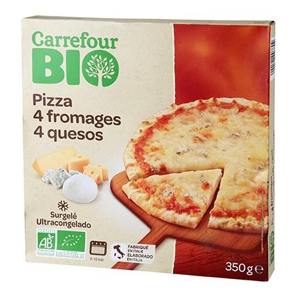 Pizza 4 quesos ecológica Carrefour Bio 350 g.