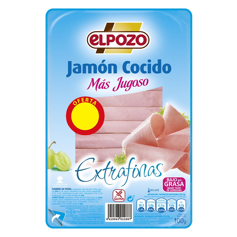 Jamón cocido lonchas finas El Pozo sin gluten 100 g.