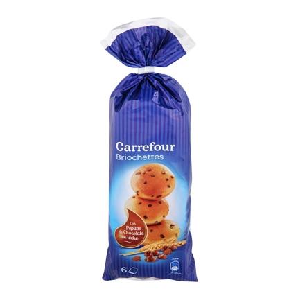 Brioches con pepitas de chocolate con leche Carrefour 250 g.