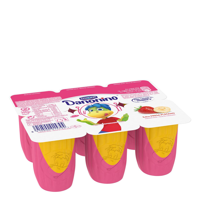Petit de fresa y plátano Danone Danonino sin gluten pack de 6 unidades de 50 g.