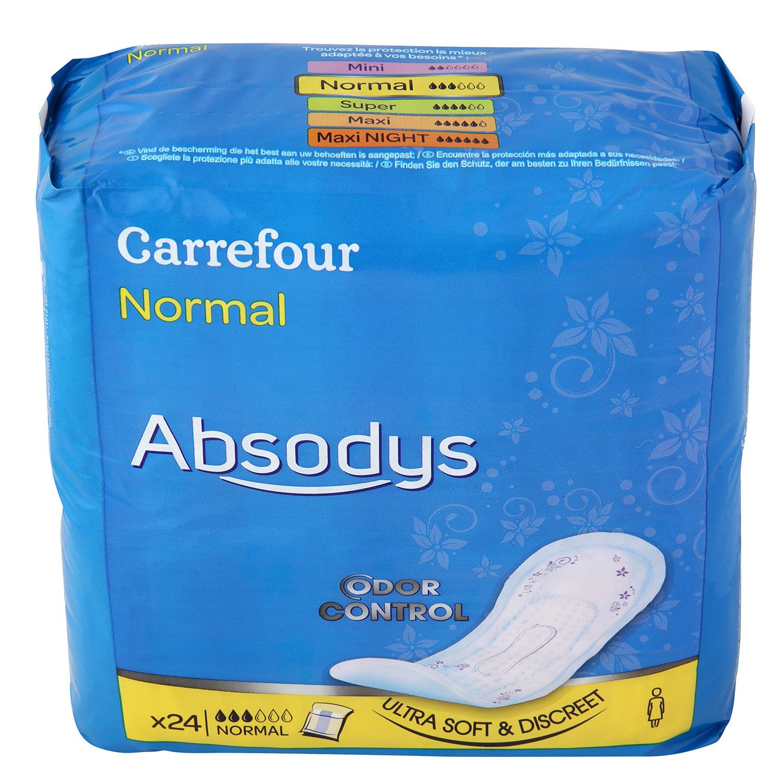 Compresas incontinencia normal Absodys Carrefour 24 ud.