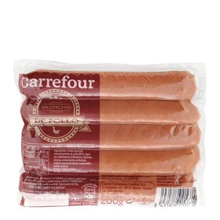 Salchichas cocidas y ahumadas de pollo Carrefour 200 g.