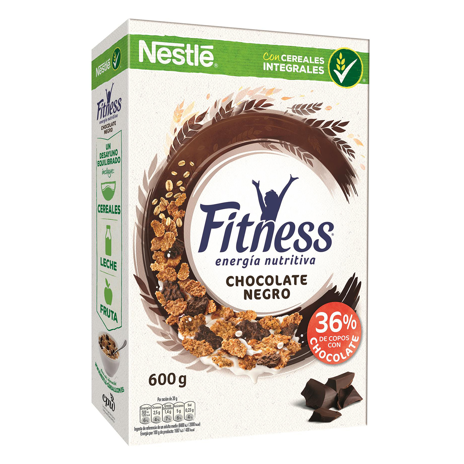 Cereales integrales con chocolate negro Fitness Nestlé 600 g.