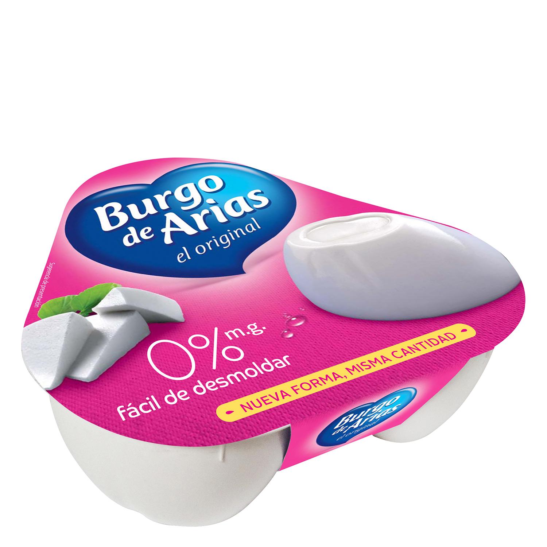 Queso blanco 0% materia grasa Burgo de Arias pack de 3 unidades de 72 g.