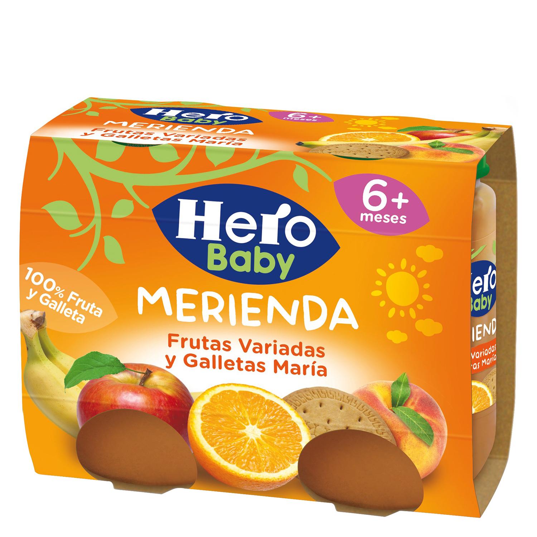 Tarrito de frutas variadas y galleta Hero Babymerienda pack de 2 unidades de 200 g.
