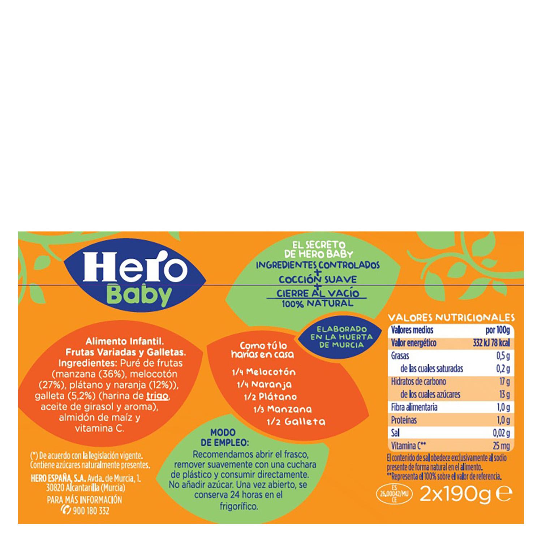 Tarrito de frutas variadas y galleta Hero Babymerienda pack de 2 unidades de 200 g. -