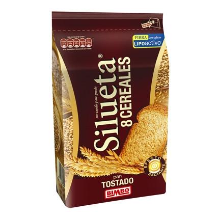 Pan tostado integral con 8 cereales Bimbo Silueta 300 g.