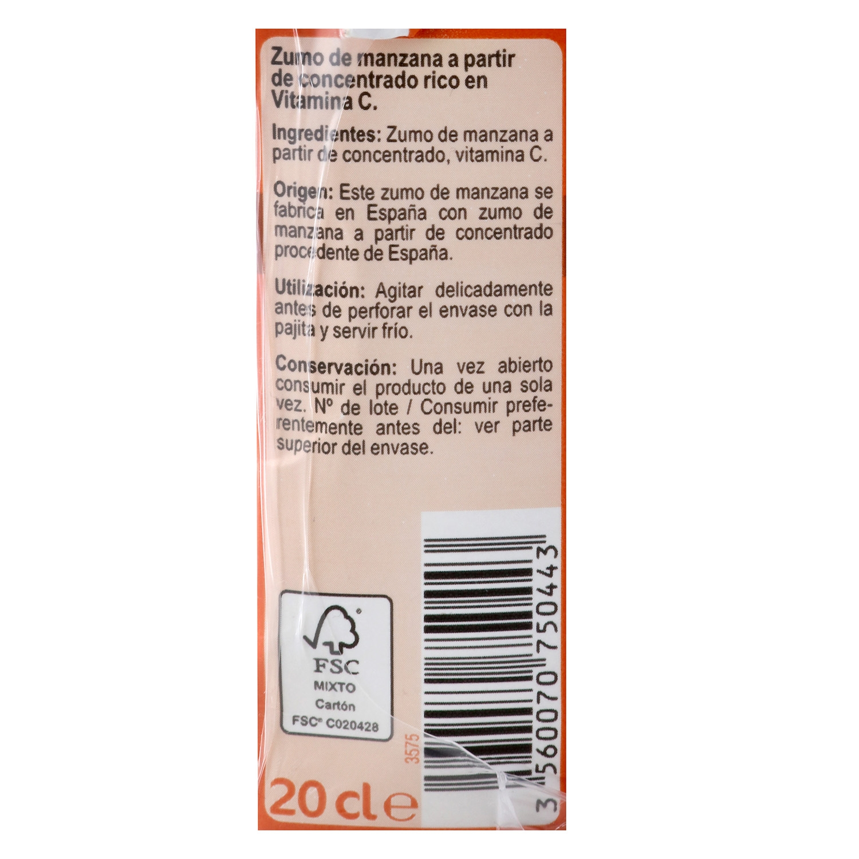 Zumo de manzana Carrefour pack de 6 briks de 20 cl. -