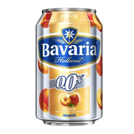 Cerveza Bavaria 0,0 sin alcohol con melocotón lata 33 cl.