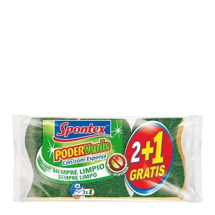 3 Estropajos con esponja Poder Verde Spontex  - Verde