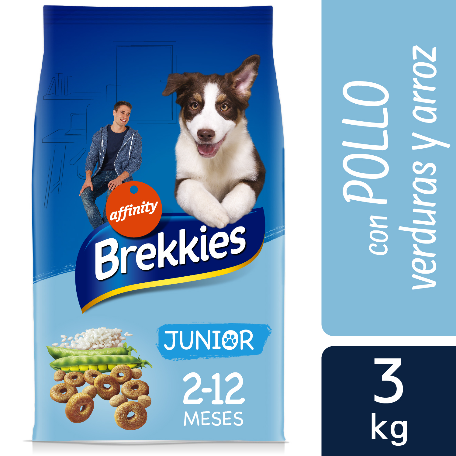 Brekkies Pienso para Perros  junior pollo y arroz 3 kg