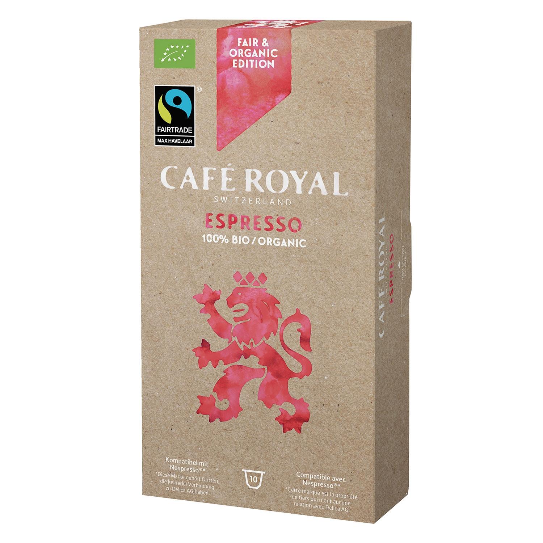 Café espresso ecológico en cápsulas Royal compatible con Nespresso 10 unidades de 5 g.