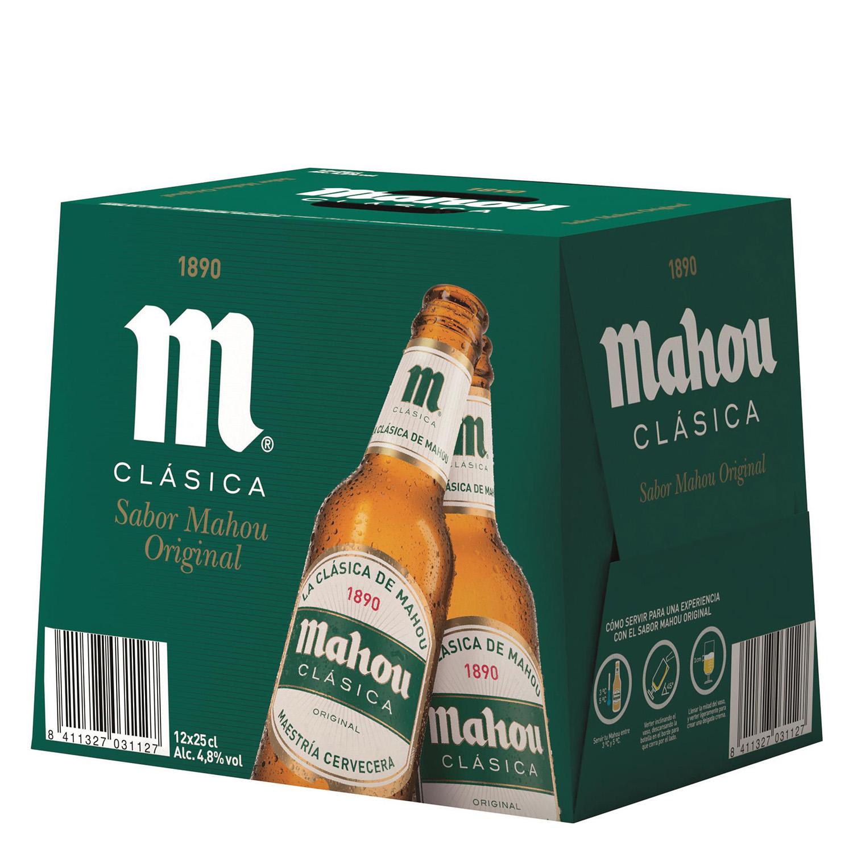 Cerveza Mahou Clásica pack de 12 botellas de 25 cl.