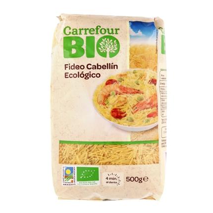 Fideo cabellín ecológico Carrefour Bio 500 g.