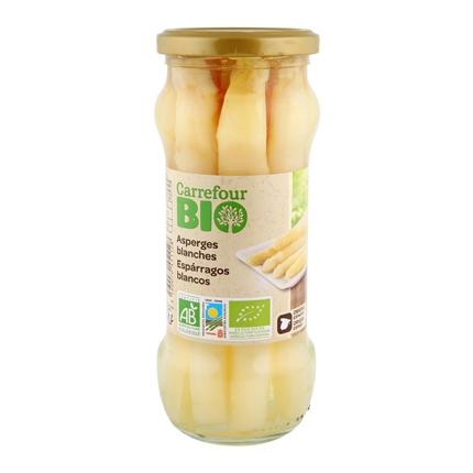 Espárragos blancos extra ecológico Carrefour Bio 205 g.