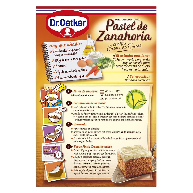 Preparado para pastel de zanahoria con crema de queso Dr. Oetker 315 g. -
