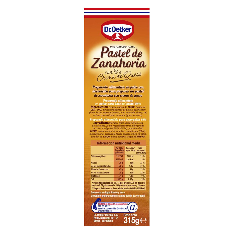 Preparado para pastel de zanahoria con crema de queso Dr. Oetker 315 g. - 2