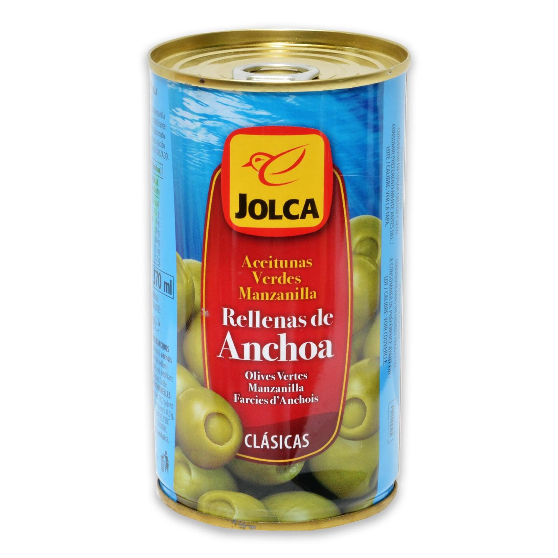 Aceitunas verdes manzanilla Jolca rellenas de anchoa 150 g.