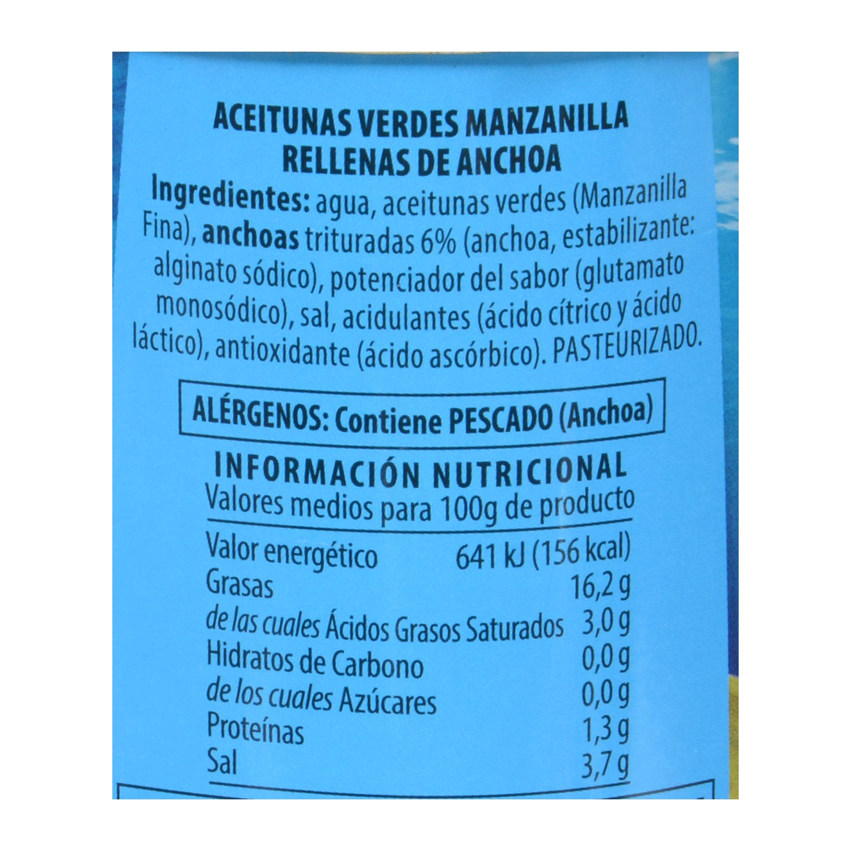 Aceitunas verdes manzanilla Jolca rellenas de anchoa 150 g. - 2