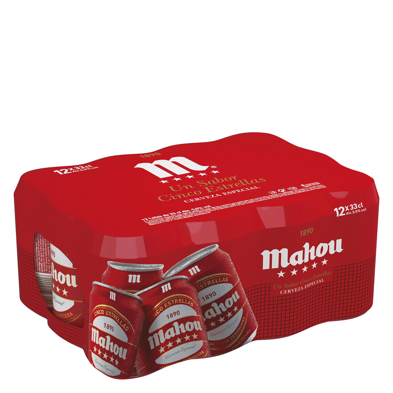 Cerveza Mahou 5 Estrellas especial pack de 12 latas de 33 cl.