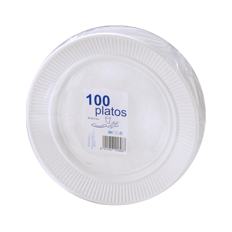 100 Platos Redondo de Plástico  20,5x3,53 cm - Blanco
