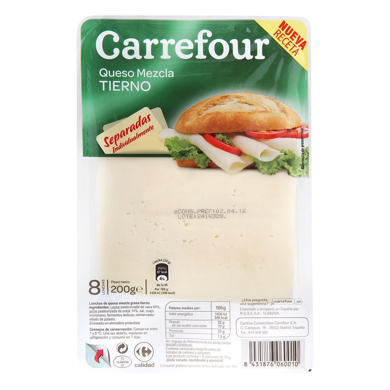 Queso tierno en lonchas Carrefour 200 g.